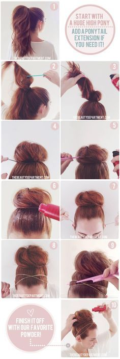 Tip about mattifying dust to keep headbands in place. Although I could never do this because I don't have enough hair for a huge high ponytail.