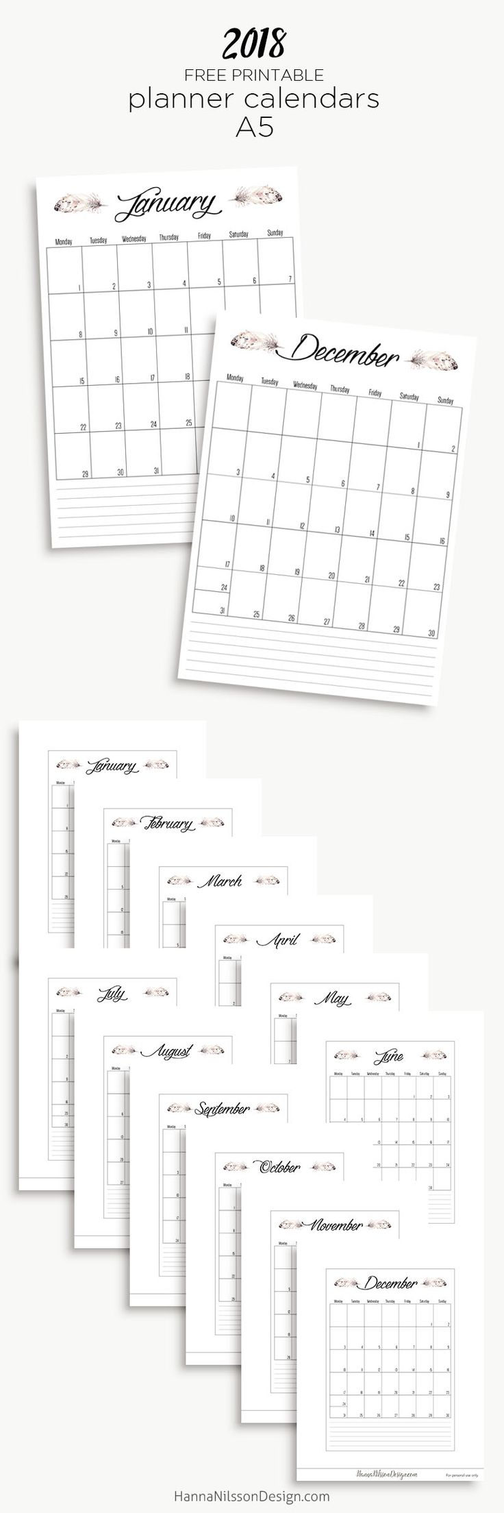2018 Free printable yearly calendar | planner inserts | filofax printable | monthly planner pages | #planner #printables #calendar