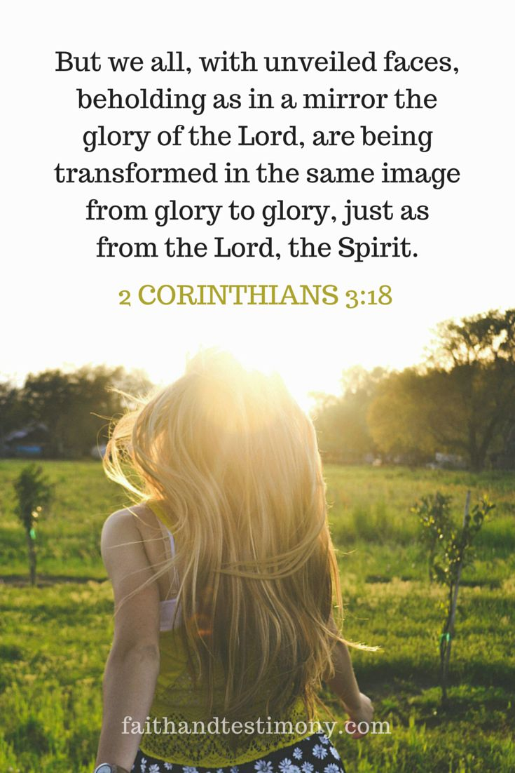 But we all, with unveiled faces beholding as in a mirror the glory of the Lord, are being transformed in the same image from glory to glory, just as from the Lord, the Spirit. 2 Corinthians 3:18