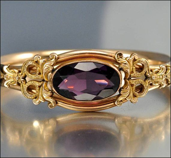 Antique Gold Charm Bracelet: Victorian Bracelet Bangle Gold Glass Amethyst Austin