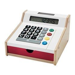 IKEA - DUKTIG, Toy cash register,  ,  , , Your child will have fun pretending to shop with their friends, while they also learn about counting and money.Encourages role play which helps children to develop social skills by imitating grown-ups and inventing their own roles.Fully functional calculator with clear display makes it easy for your child to sum up the costs of a purchase.No need to change batteries as the calculator runs on solar cells.Includes play money and two credit cards that…