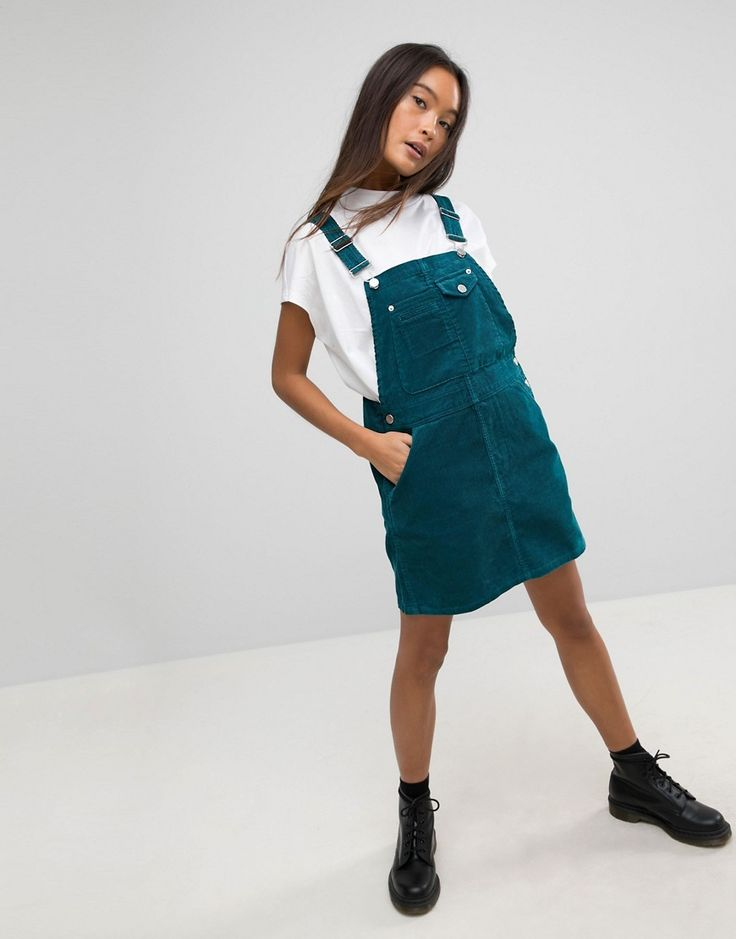 ASOS Cord Overall Dress in Emerald Green - Green