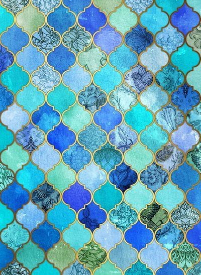 Cobalt Blue, Aqua & Gold Decorative Moroccan Tile Pattern Art Print -- Artwork for the Master Bathroom