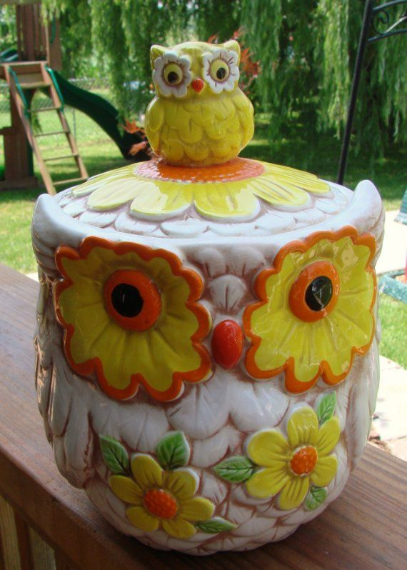 VINTAGE 1970s ERA LEFTON HOOT OWL and FLOWER by thecherrychic