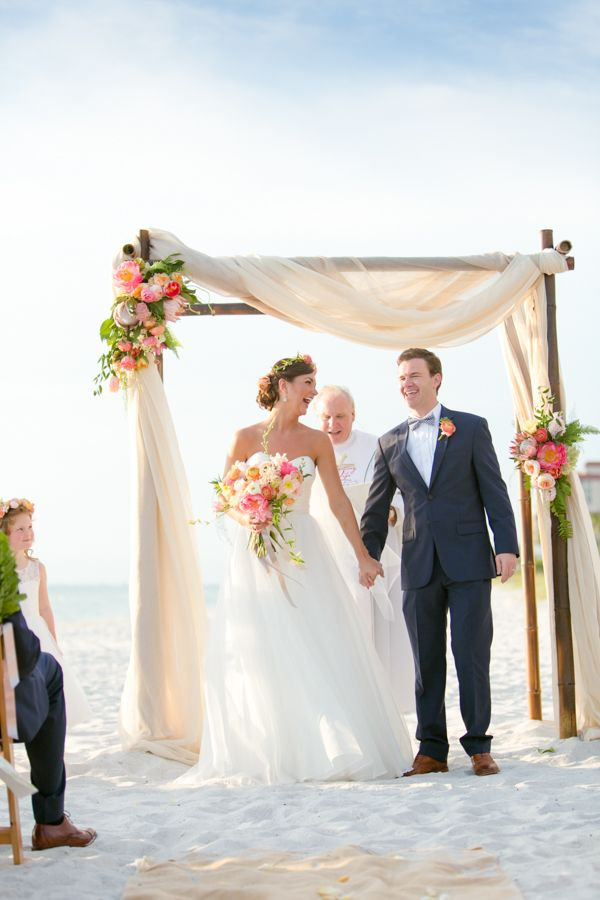 Blush beach wedding with an a-line gown | Set Free Photography