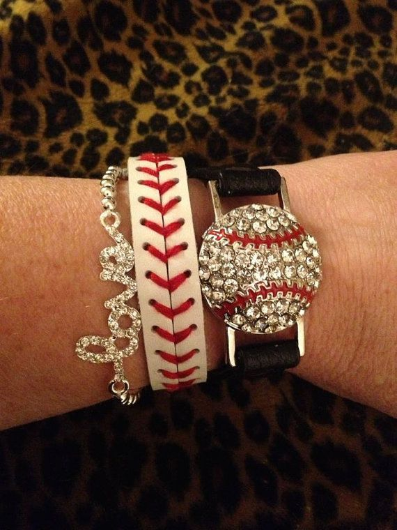 Rhinestone Baseball stack bracelet SET by CocomoSoulBoutique, $25.00. I know a few ladies that would like this!