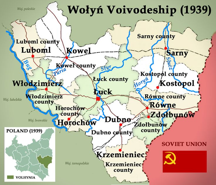 Map of Wołyń Voivodeship with Counties