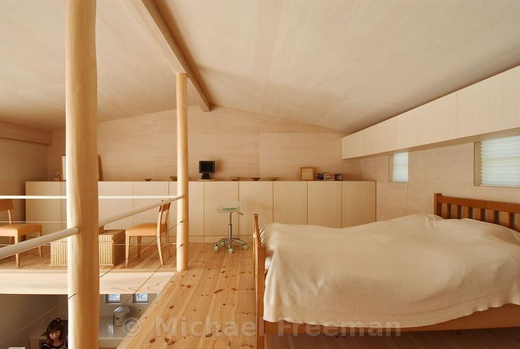 9 tsubo house a mezzanine bedroom supported by wooden pillars hewn from pine trunks