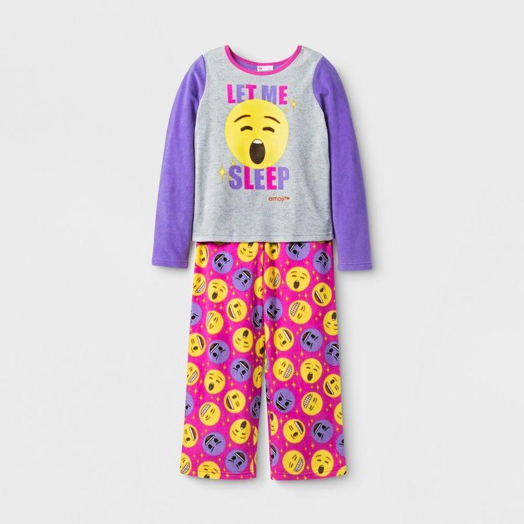 Girls' Emoji 2 Piece Pajama Set - Multi-Colored 4, Multicolored