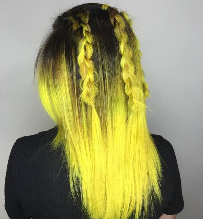 40 Two Tone Hair Styles Yellow Hair Color Hair Styles Yellow Hair Dye