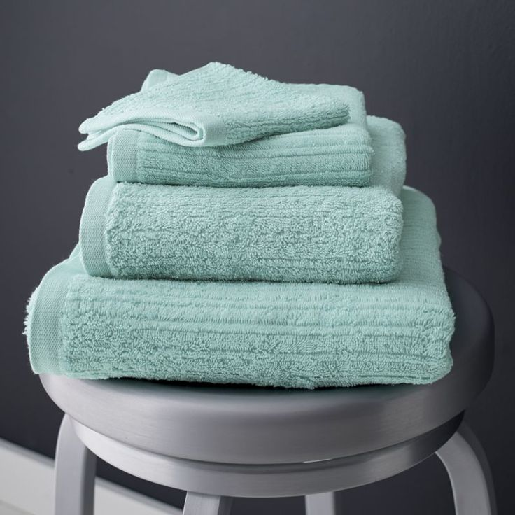 Charisma Bath Towels Seafoam: Ribbed Seafoam Bath Towels