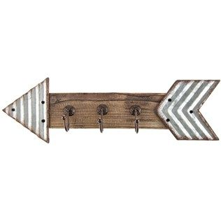 To hang wet towels and bathing suits Galvanized Metal & Wood Arrow Triple Hook Decor