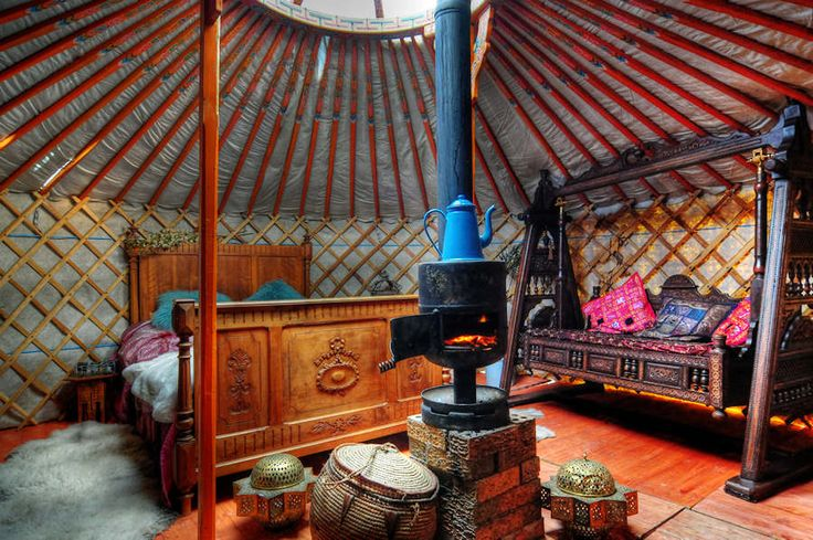 Ooooooh... a luxury Yurt would be FABULOUS!!!!! How comfy does this bed look?