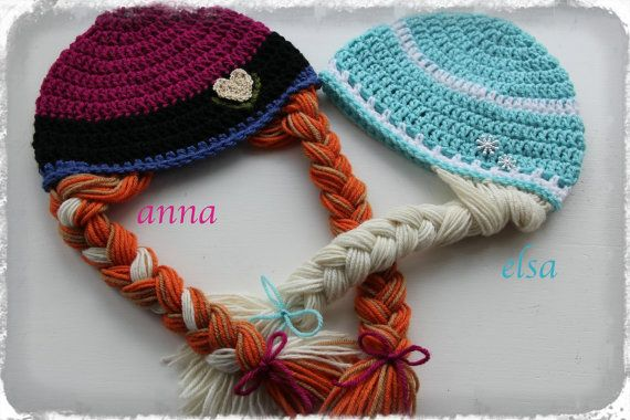 Elsa & Anna hats https://www.etsy.com/listing/182054777/crochet-frozen-anna-and-elsa-inspired