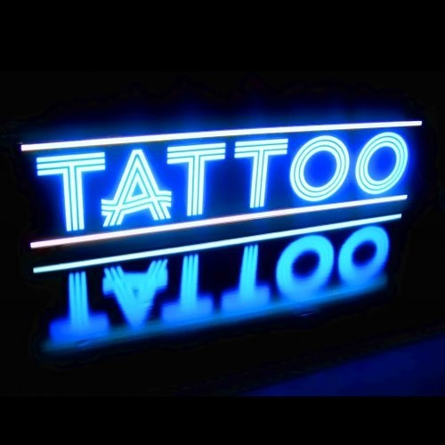 24 best tattoo shop business cards images on pinterest for Neon tattoo signs