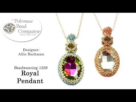 Royal Pendant (DIY Tutorial) - YouTube  (especially for brick stitch bezel technique)