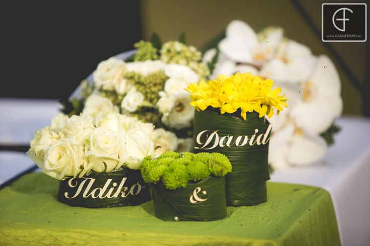 Green and yellow wedding centerpieces --- created by Enchantee