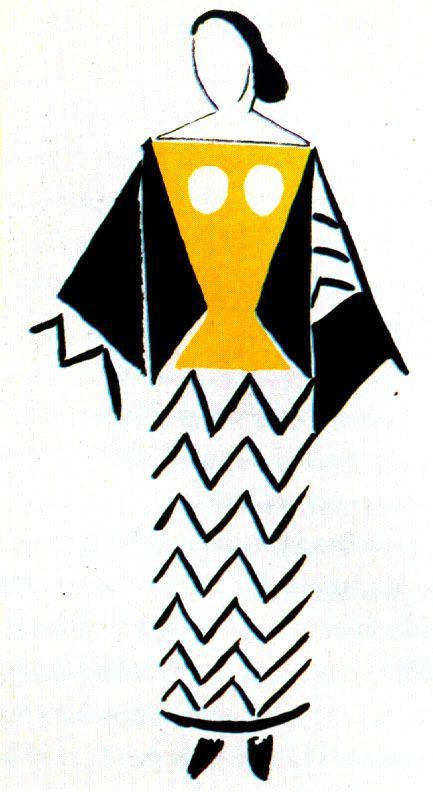 256-26-Nei primi anni venti,Sonya Cominciò a realizzare costumi teatrali d' avanguardia e design di stoffe e abiti di produzione commerciale.---------Sonia Delaunay-bozzetto di costume per balletto-1923.