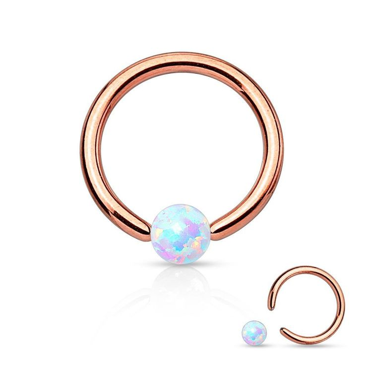 Fire Opal White Captive Hoop Rose Gold Cartilage 16ga Tragus Body Jewelry Helix Piercing Jewelry - BodyDazzle