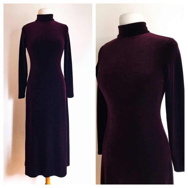 Velvet Burgundy Bodycon Dress / High Neck Maxi Dress / Holt Renfrew Velvet Dress / Burgundy Long Sleeved Dress / Velour Dress / XS dress by MarlaHomanCollection on Etsy