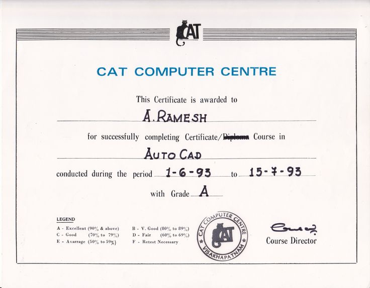 AutoCAD Certification - Computer Aided Design for Civil Engineering Drafting  Anumukonda Ramesh- Certifications in 1993