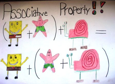 associative property of addition...how can they forget this with Sponge Bob doing the teaching! This will stick in their heads for sure!! There's a GREAT chart using Angry Birds for the distributive property too...Love this!