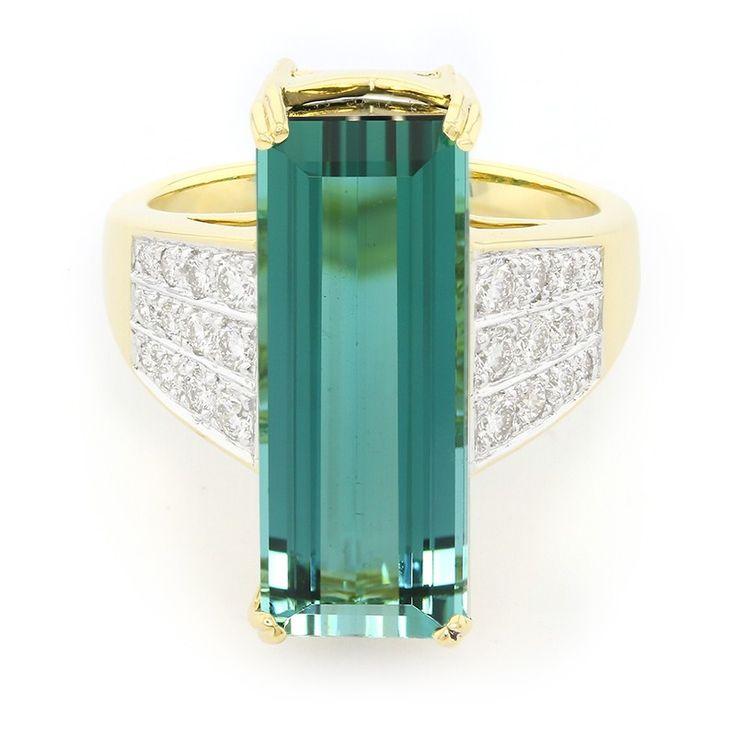 Bague pour femme sertie d'une Tourmaline de Pirineu et de Diamants - Bijou en or 18K - Collection Haute Joaillerie - Juwelo Bijouterie en Ligne