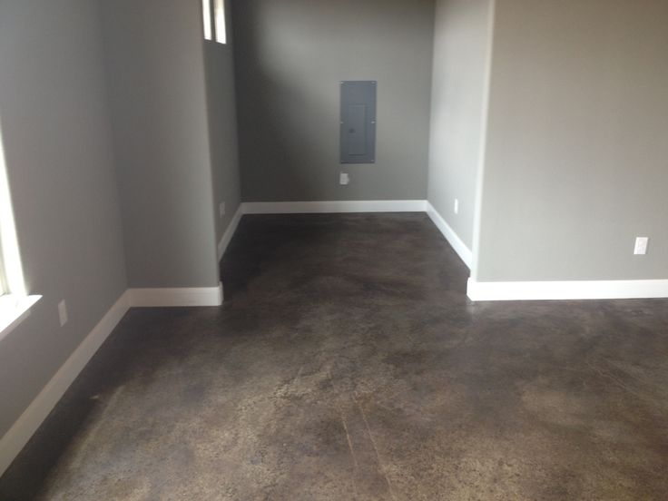 Stained concrete floors floors pinterest grey walls stains and ties - Cement basement floor ideas ...