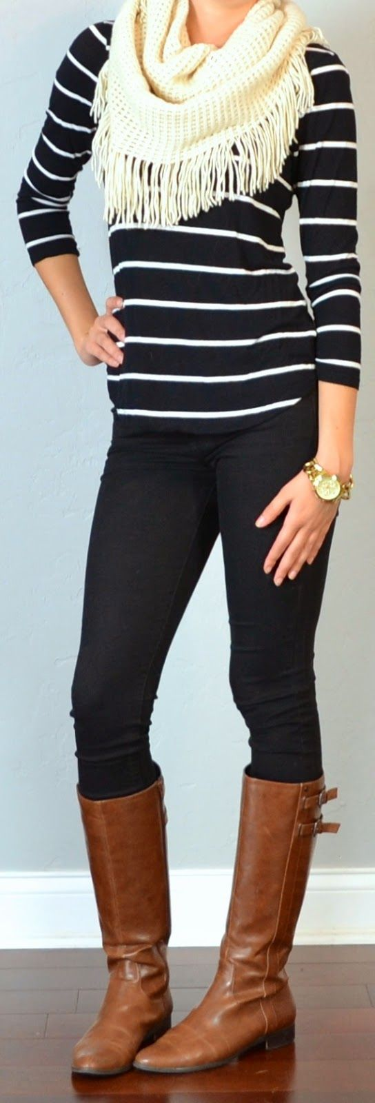(fall/winter) striped shirt, black skinny jeans, white fringe scarf, brown riding boots