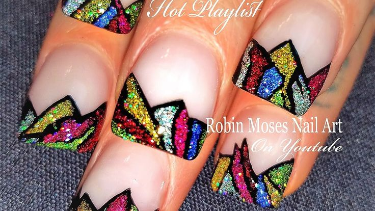 Easy Stained Glass Nails | DIY Shattered Glitter Nail Art Design Tutorial