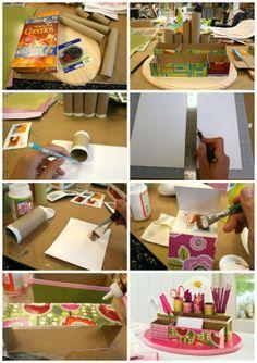 Recicla cajas de cereal y haz un organizador de escritorio. Manualidades / reciclaje / DIY / Tutorial