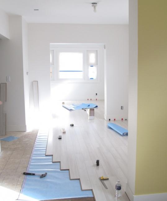 Armstrong Blizzard Pine Laminate flooring.  Atrium White Walls (Benjamin moore)