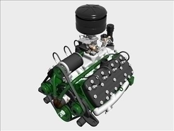 Early Flathead V8 Engine 3D Model-   Here is an early flathead V8 engine from a long-time American auto manufacturer founded by a guy named Henry��this motor is modeled after the �middle years� variation, 1938 through 1948, the 24-stud, 239 cubic inch version, this one with a single Stromberg 97 carburetor��truly a legendary powerplant��nice detail externally, but without internal pieces���� - #3D_model #Automobile Parts