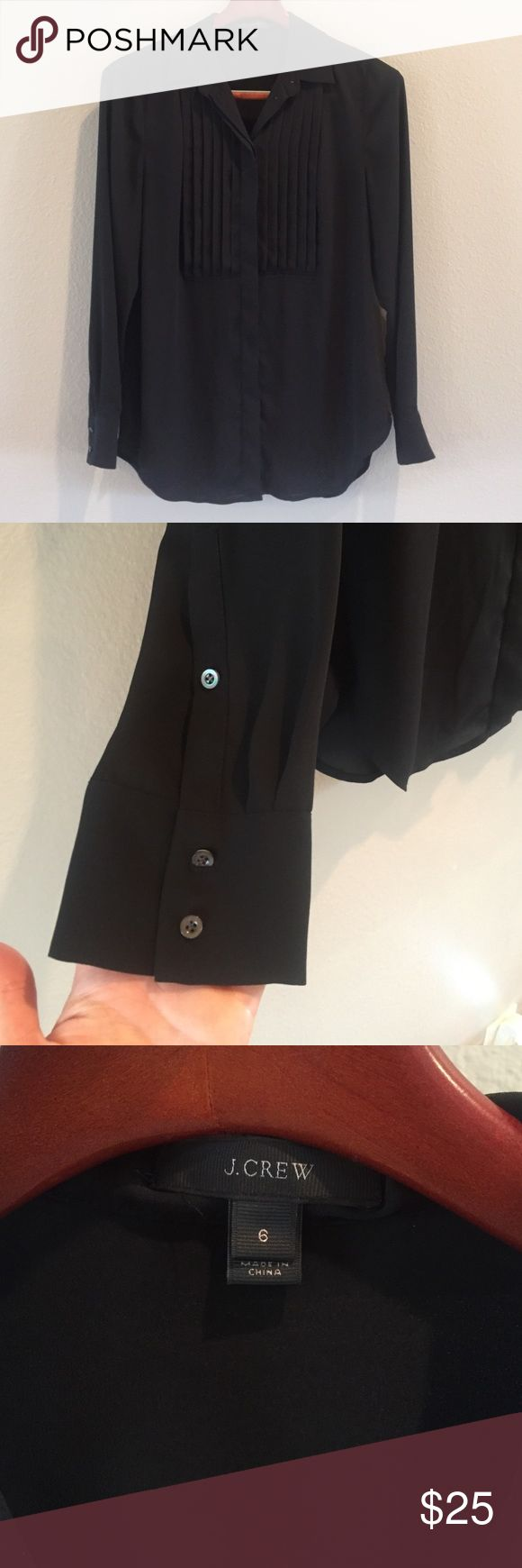 "✨J.Crew Tuxedo Shirt✨ J.Crew black tuxedo shirt✨In Like New Condition✨ 100% Polyester✨ Hidden Buttons✨Bust is 38"", Length is 29"" J. Crew Tops Button Down Shirts"