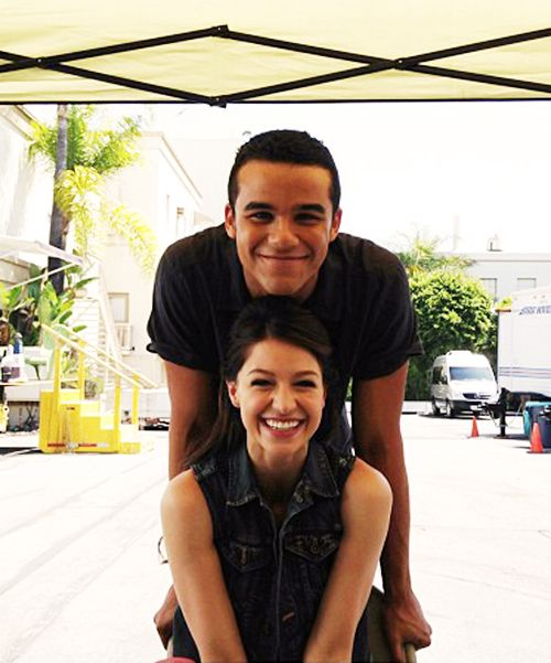 Jacob and Melissa on the Glee set