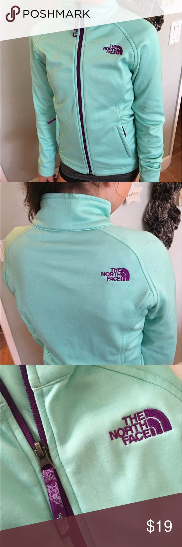 Girls North Face jacket Super cute used jacket in good condition. My granddaughter just grew out of it. Aqua with purple zippers. North Face Jackets & Coats