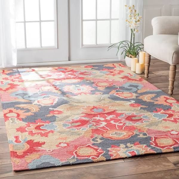 blue and coral rug