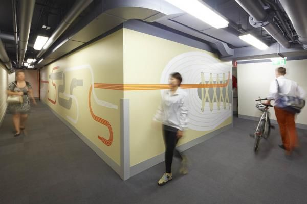 At least a semi interesting space for an end of journey.  Nice design work on the walls- contemporary yet light hearted.
