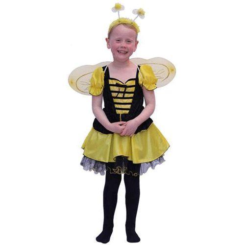 Bijen kostuum voor meisjes. Dit geel/zwart gestreepte bijen kostuum voor meisje is inclusief jurkje, vleugeltjes en diadeem met voelsprietjes. Dit bijen kostuum staat elk meisje super schattig!