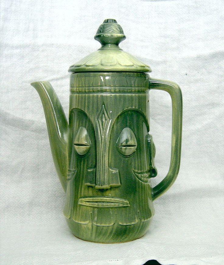 Vintage Mid-Century Hawaiian GREEN TIKI FACE Coffee or Tea Pot