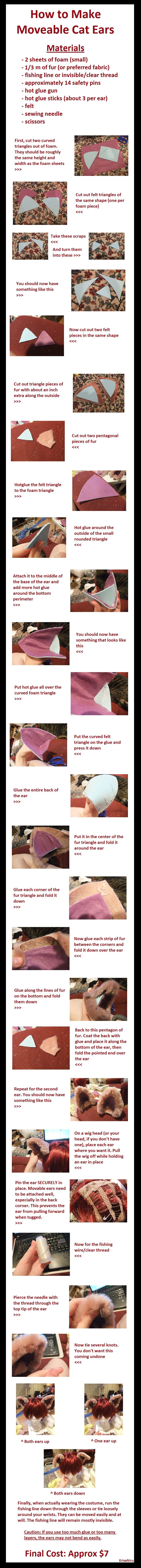 Moveable Cat Ear Tutorial by chameleoncosplayteam.deviantart.com on @deviantART