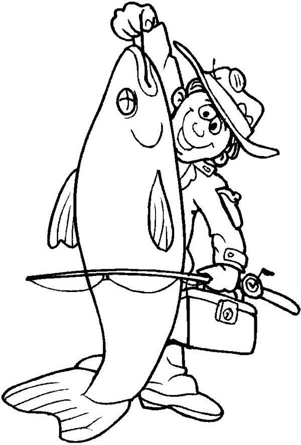Fisherman Catch Big Fish Coloring Page | Fish coloring ...