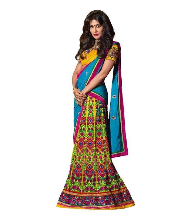 Designer Bridal Net Yellow Lehenga Choli