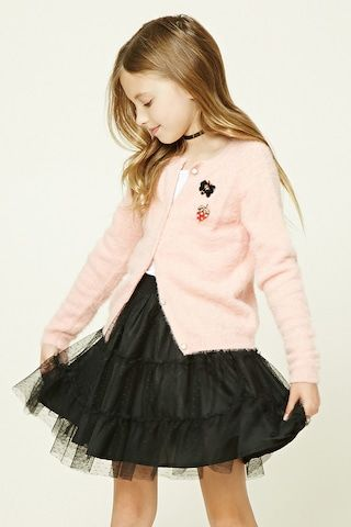 Forever 21 Girls - A sheer dotted mesh skirt featuring a tiered design, ruffled trim, a woven underlayer, and an elasticized waist.