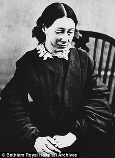 """Eliza Josolyne, 23, was admitted to Bethlem in February 1857, with the cause of her apparent insanity recorded as 'overwork'. She looks distraught and her face bears marks of injury. Eliza had been the only servant in a 20-room house and was unable to keep up with the work over the hard winter months when every room would have required a fire burning in its grate and lamps to be lit early."" I feel so bad for her..back then if women were just burnt out,they were often locked away."