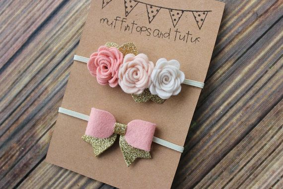 Felt headband set with glitter by muffintopsandtutus on Etsy