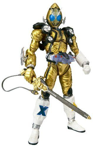 """S.H. Figuarts - Kamen Rider Fourze Eleki States by Bandai Japan. $36.45. S.H.Figuarts: Masked Rider Fourze Eleki States Action Figure. Kamen Rider Fourze Eleki States from the popular new Kamen Rider series """"Kamen Rider Fourze"""" joins the S.H.Figuarts line-up in shining golden suit color and electrifying clear blue eye parts! Set features a full array of accessories, including Billy The Rod, Scissors, Burgermeal foodroid (two types), switches, and 3 sets of right/left in..."""
