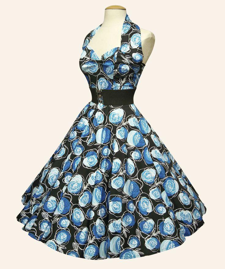 50s Halterneck Floral Dress | Vivien of Holloway