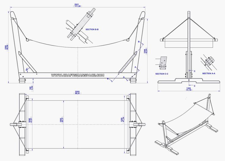 Garden Hammock With Stand Plan Assembly 2d Drawing