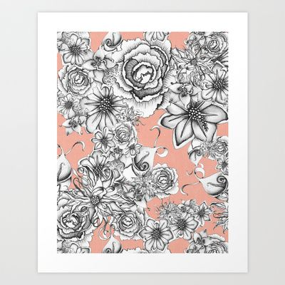 B&W Flowers Coral Art Print by Nora - $16.00